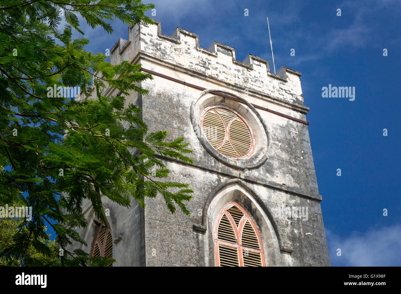Tower of Saint Johns Parish Church, Barbados, West Indies - Stock Image