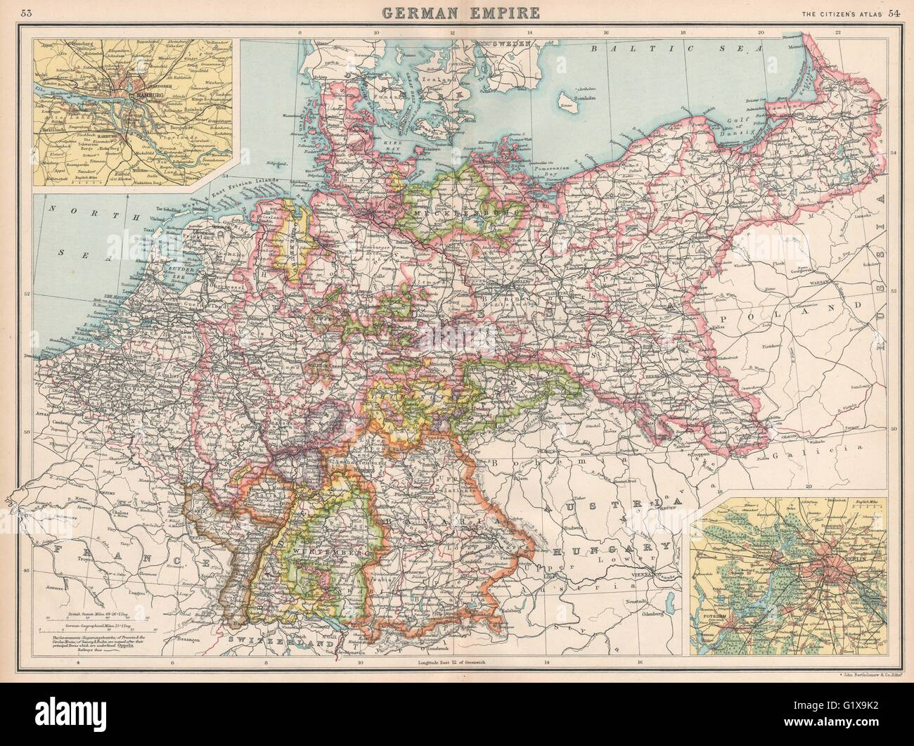 german empire states germany prussia hamburg berlin bartholomew 1912 map