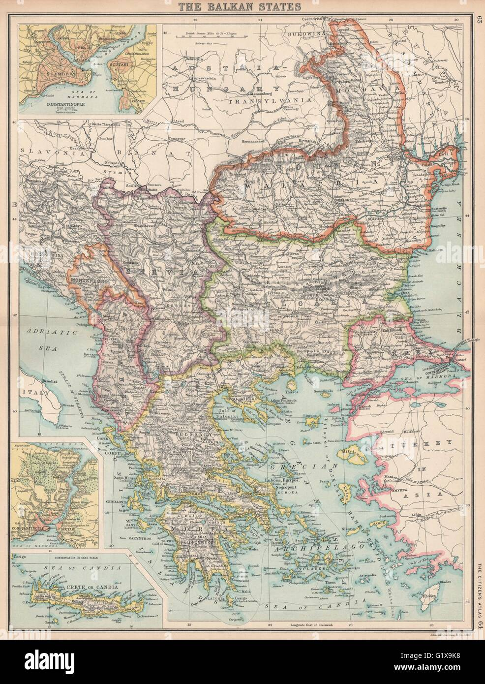 BALKANS. Turkey In Europe Greece Wallachia. Constantinople (Istanbul ...
