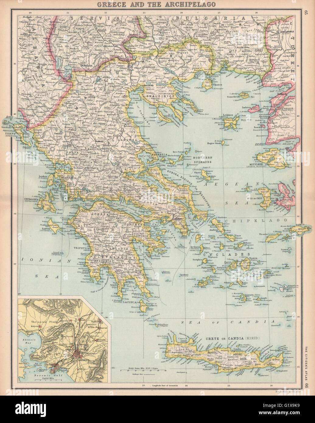Greece aegean ionian islands crete inset athens bartholomew greece aegean ionian islands crete inset athens bartholomew 1912 old map gumiabroncs Images
