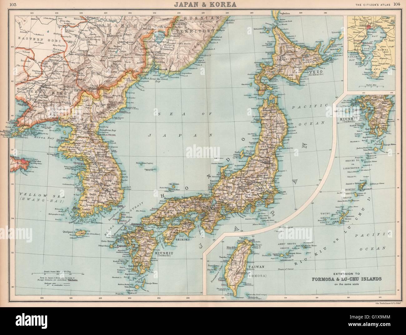 Japan korea inset tokyo bay formosa taiwan railways stock photo japan korea inset tokyo bay formosa taiwan railways bartholomew 1912 map gumiabroncs Images