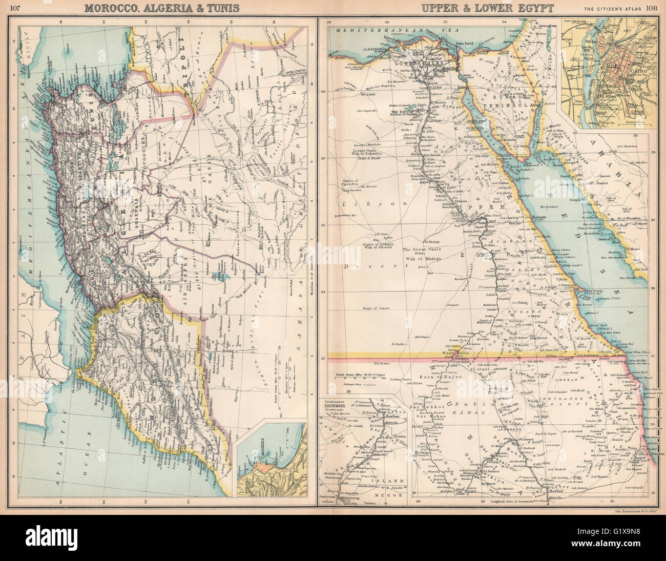 North africa morocco algeria tunis tunisia egypt cairo stock photo morocco algeria tunis tunisia egypt cairo bartholomew 1912 map gumiabroncs Choice Image