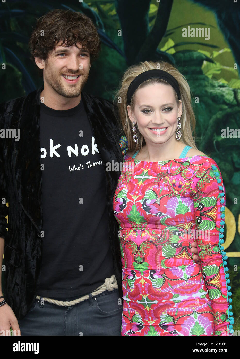April 11, 2016 - Max Rogers and Kimberly Wyatt attending The Jungle Book European Premiere at BFI Imax in London, Stock Photo