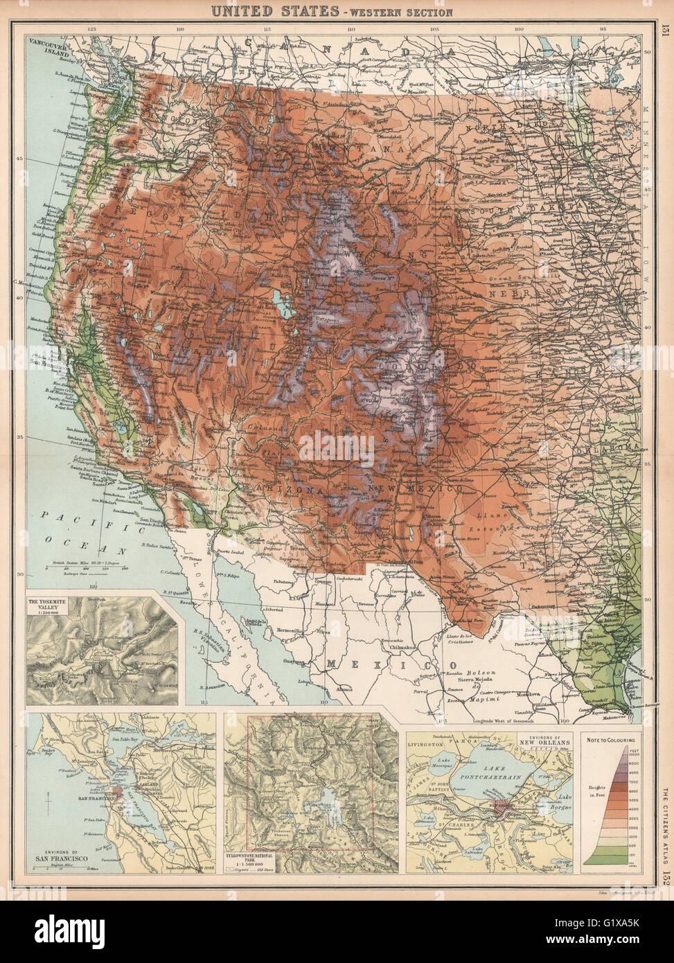 ROCKY MOUNTAINS. USA West. Yosemite San Francisco Yellowstone, 1912 on bass lake map, fresno map, yellowstone west map, atlanta west map, stockton map, clovis west map, ontario west map, minto west map, grand canyon west map, greyhound west map, rocky mountain west map, washington west map, huntington lake map, united states west map, windsor west map, vieux montreal map,