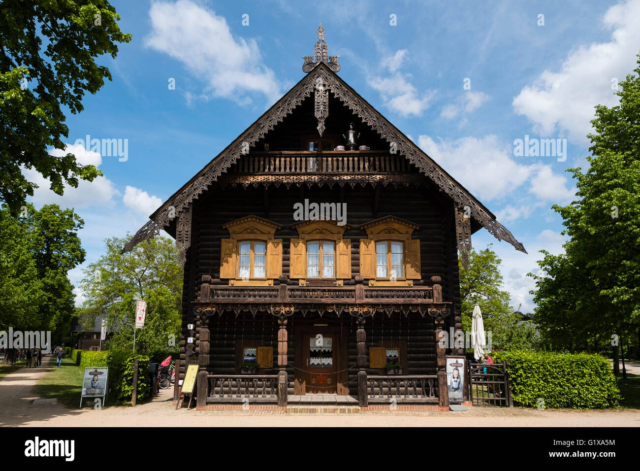 Wooden house on display at Russischen Kolonie ( Russian Colony) Alexandrowka, Potsdam, Brandenburg, Germany - Stock Image