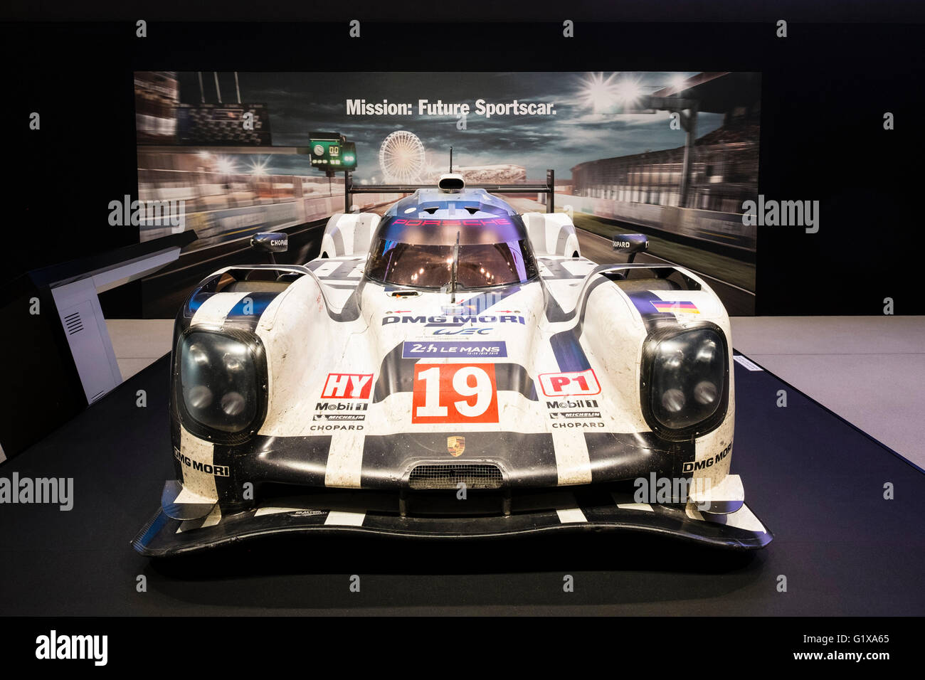 Porsche Le Mans racing car on display at VW Drive forum on Unter den Linden in Berlin Germany - Stock Image