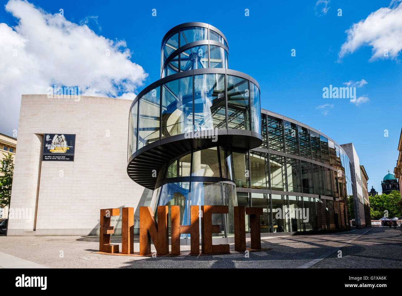 Exterior of modern extension to German Historical Museum designed by IM Pei in Berlin Germany - Stock Image