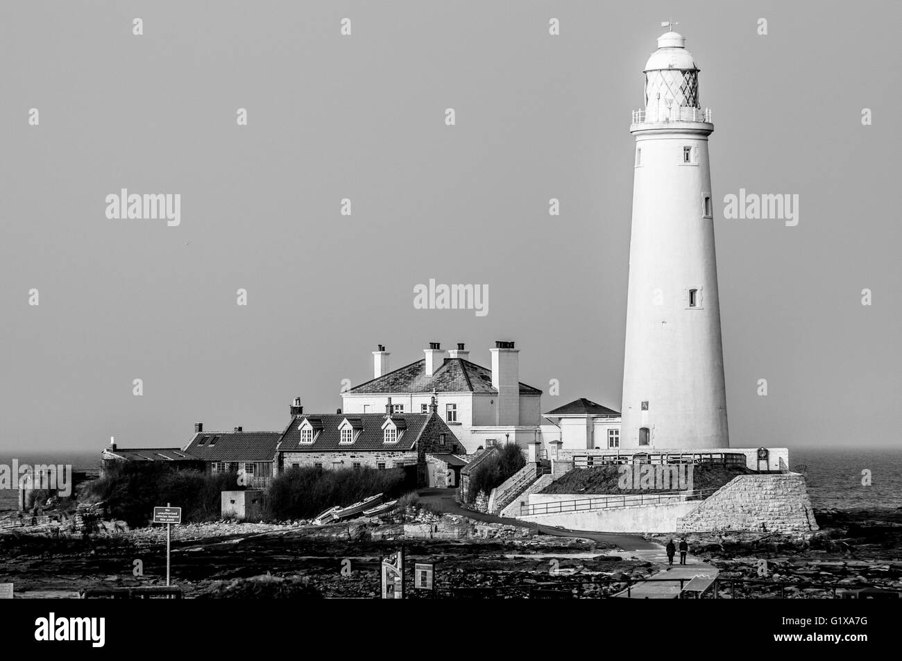 St Marys Island and Lighthouse in Mono - Stock Image