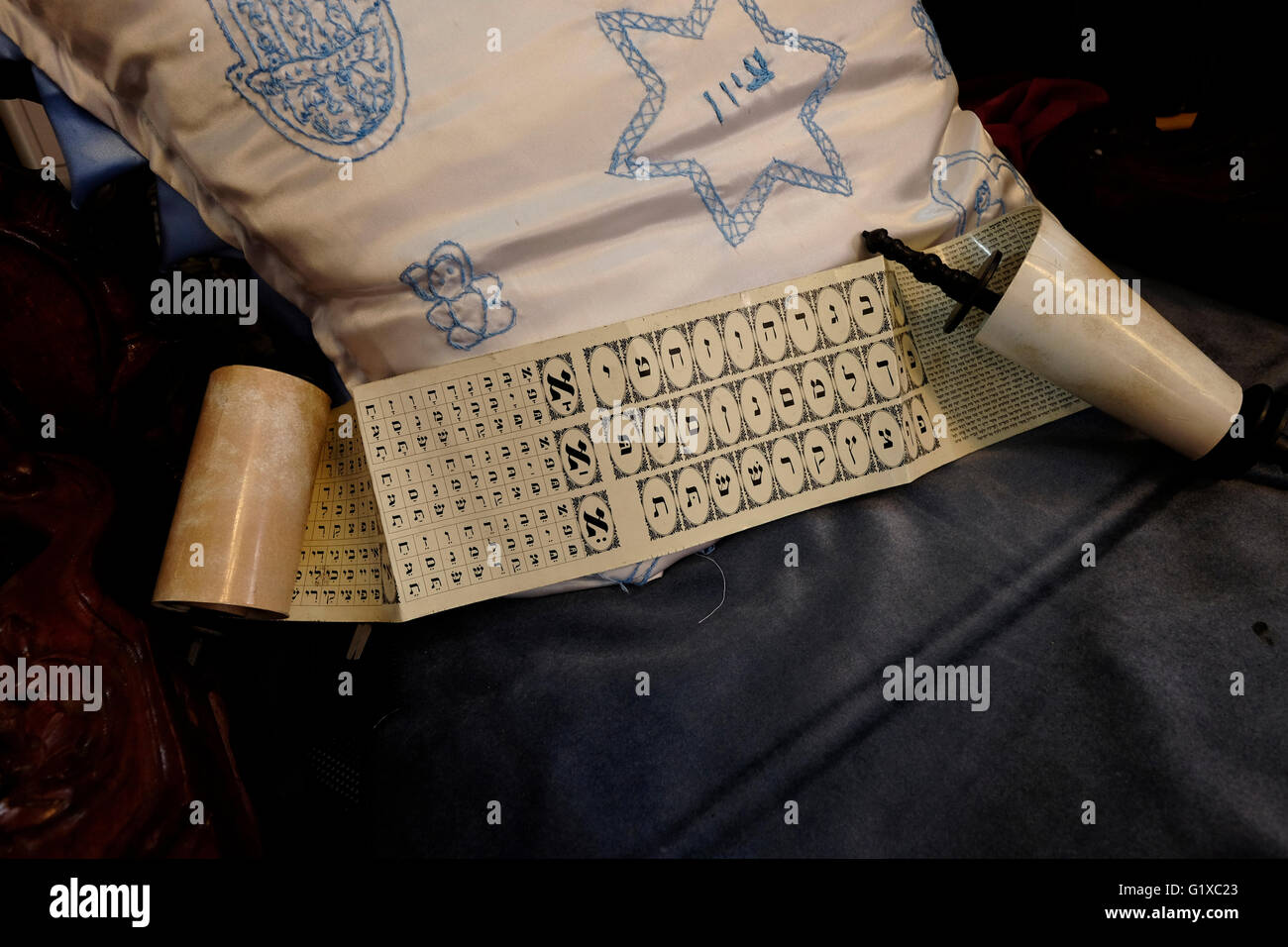 A scroll with Hebrew alphabet for the traditional first haircut of  3-year-old religious Jewish boys inside the - Stock Image