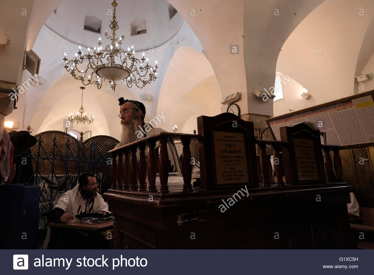 Ultra orthodox Jews praying inside the burial site of Rabbi Shimon Bar Yochai one of the most important figures - Stock Image