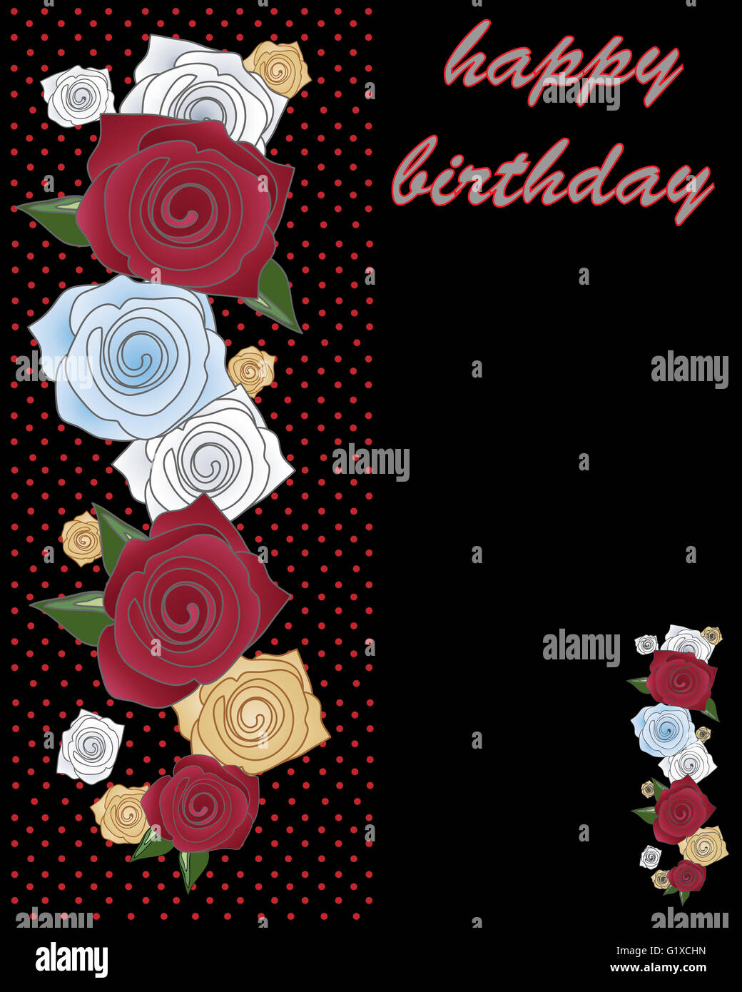 An Illustration Of A Greeting Card Decorated With Stylized Roses And