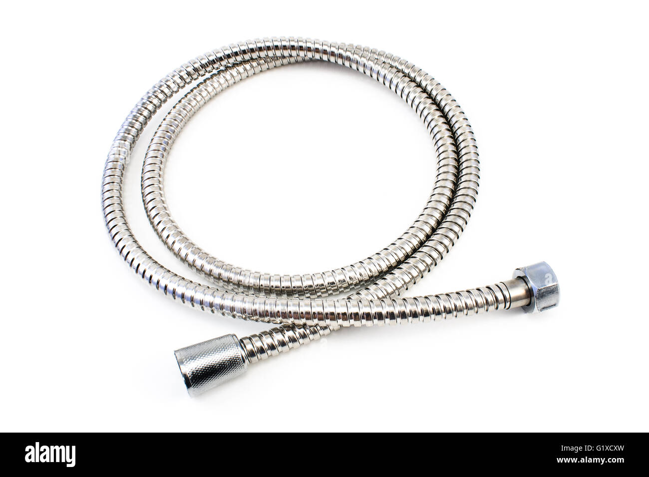 Water hose isolated on white - Stock Image