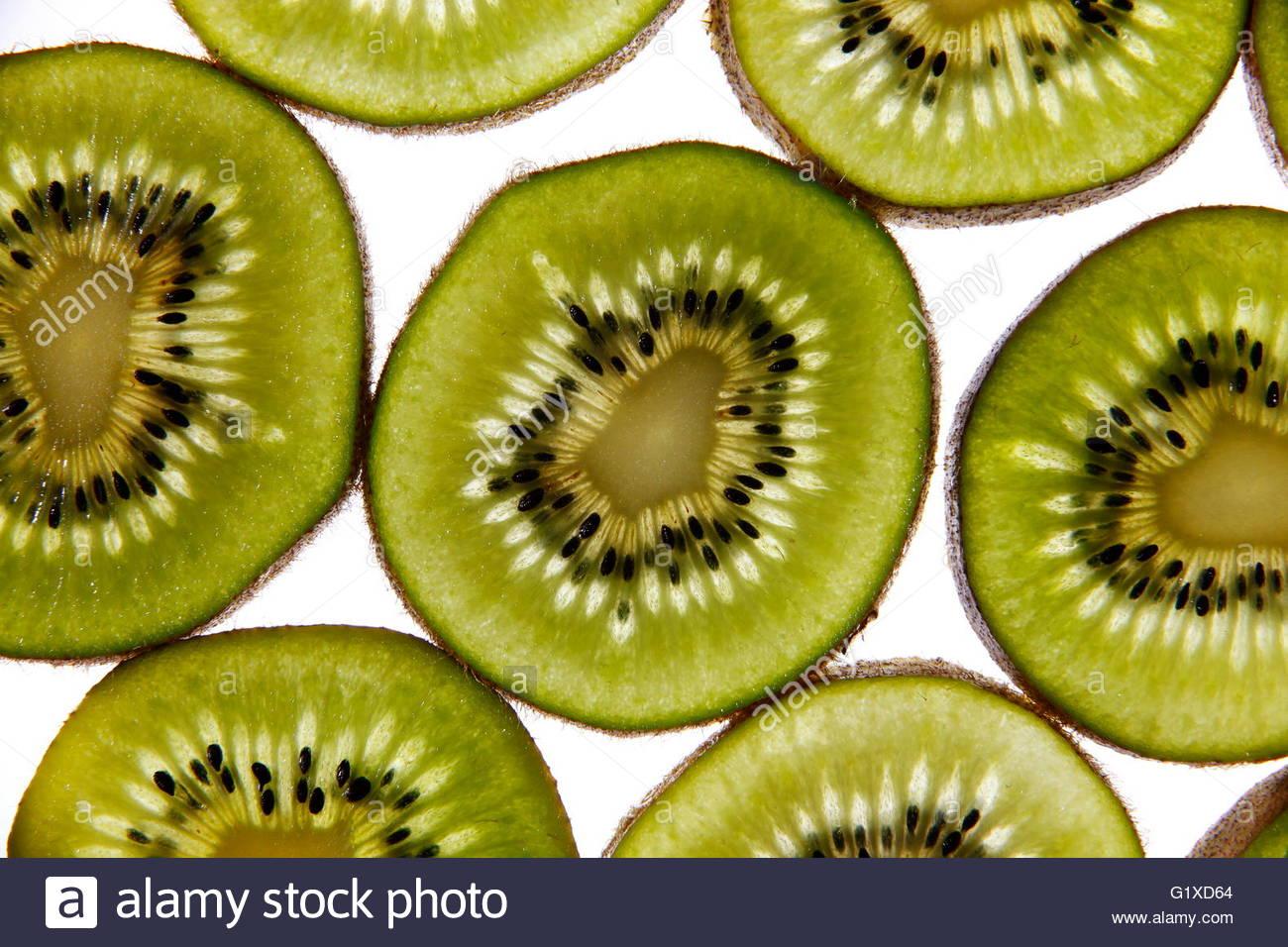 In macro photography studio environment was sliced kiwi fruit - Stock Image