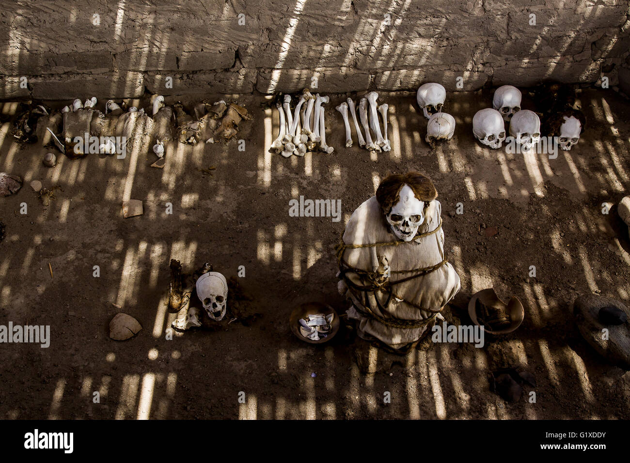 Chauchilla, an ancient precolumbian cemetery of the Nazca Culture. - Stock Image