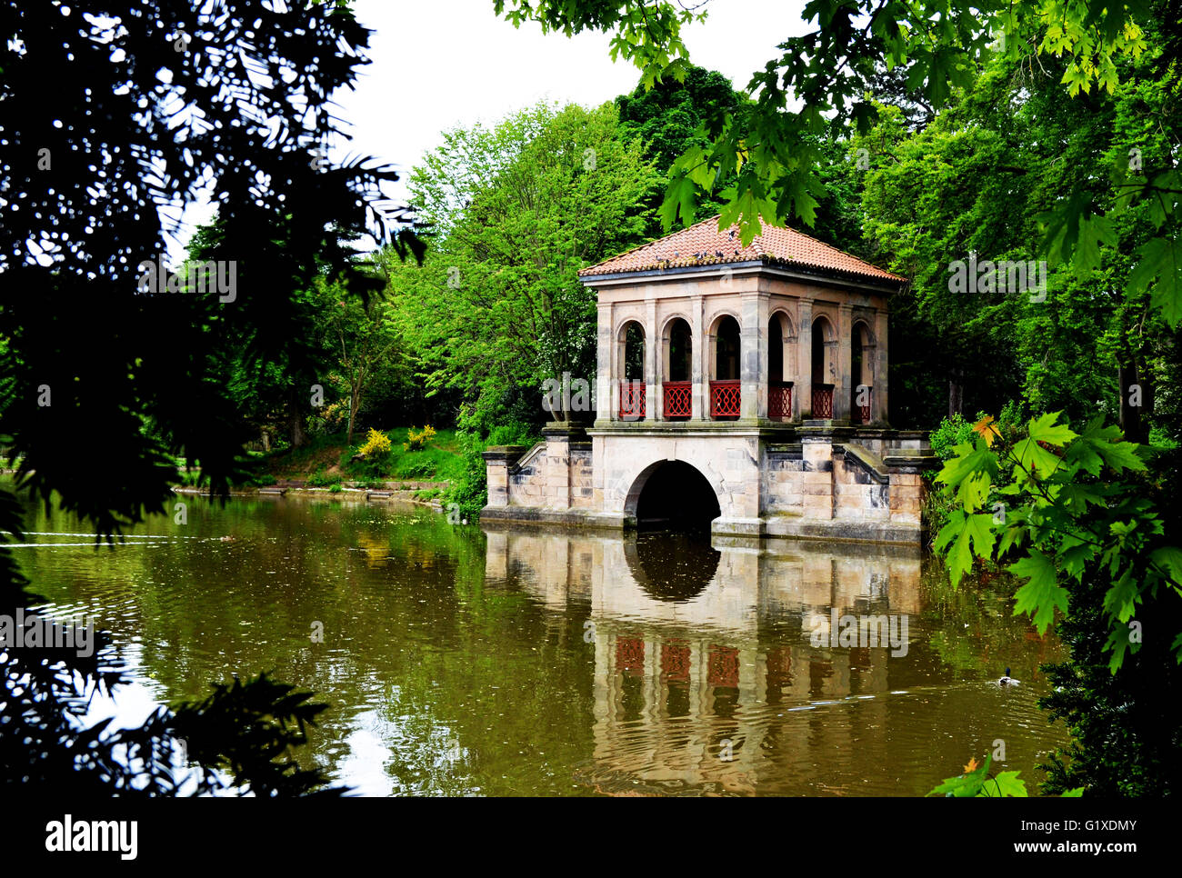 The iconic Boathouse in Birkenhead Park, Wirral, UK - Stock Image