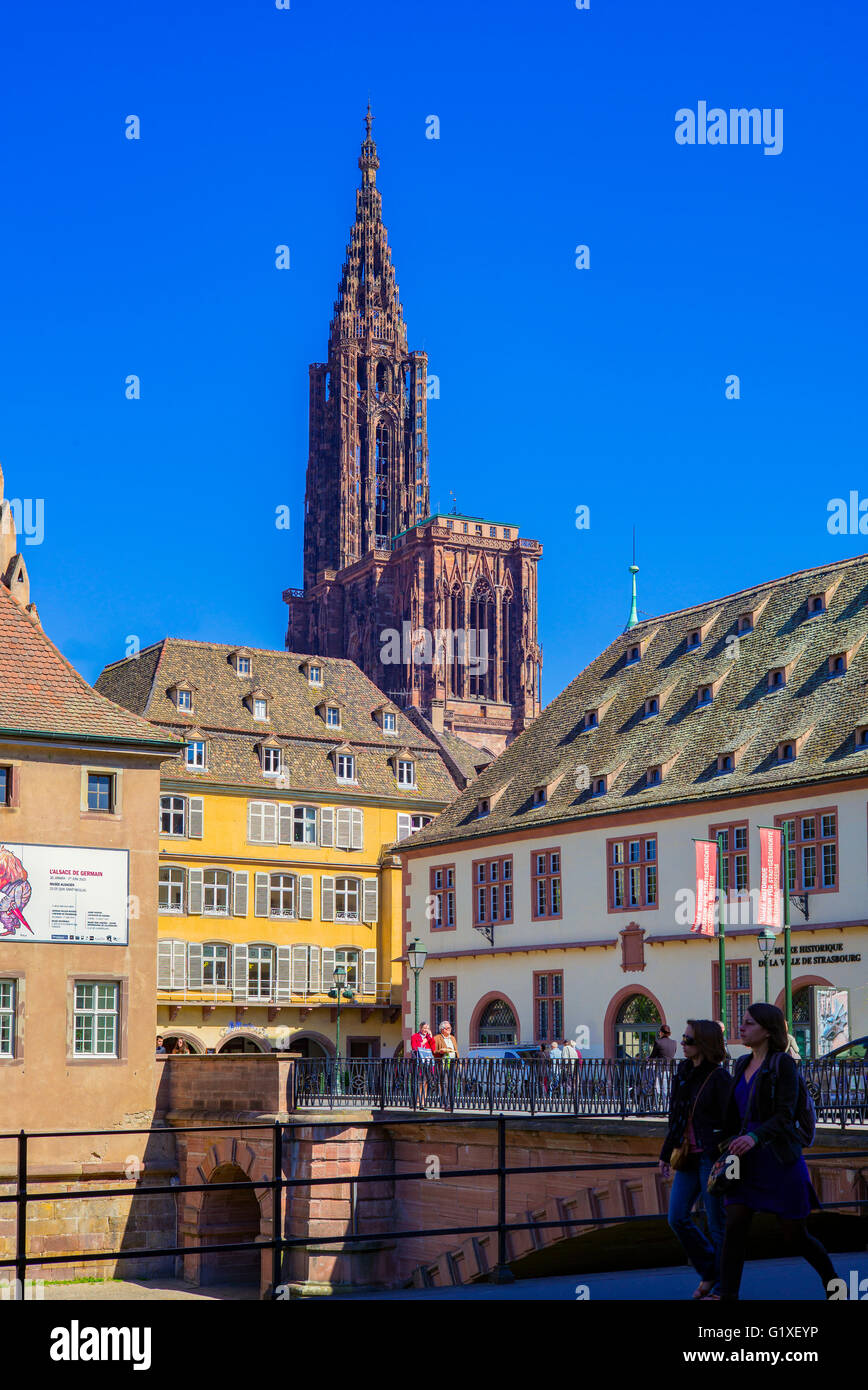 Historical museum and cathedral, Strasbourg, Alsace, France - Stock Image