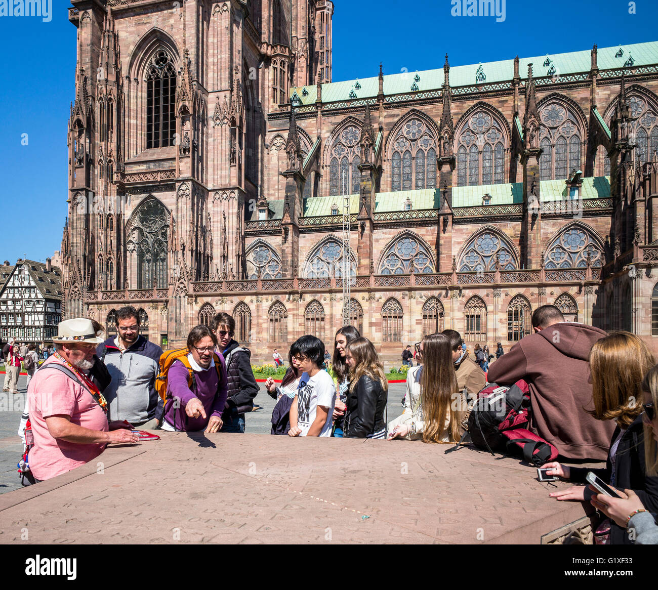 Teacher with students, Place du Château square and Notre-Dame gothic cathedral 14th century, Strasbourg, Alsace, - Stock Image