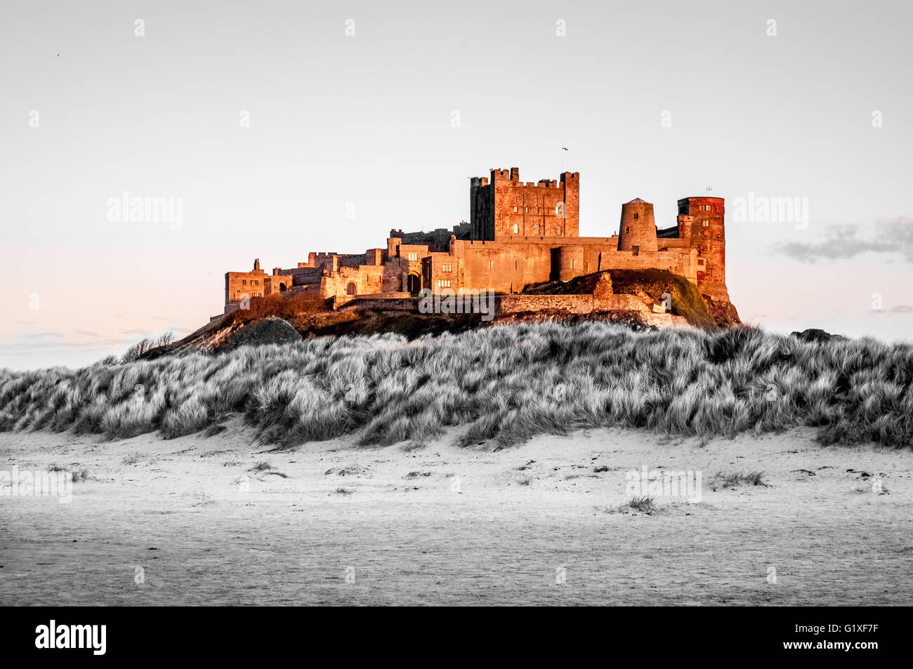 The Colourful Bamburgh Castle Stock Photo