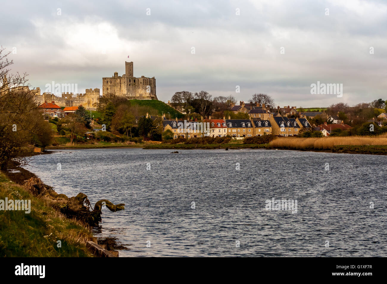 Warkworth and the banks of the Coquet river Stock Photo