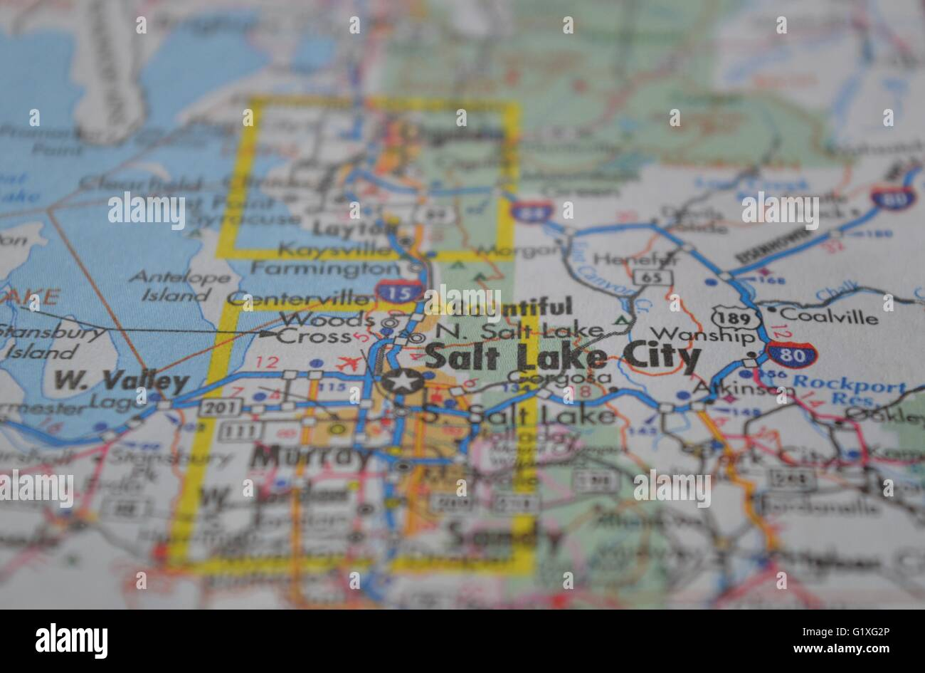 Salt Lake City Map Stock Photo: 104460238 - Alamy