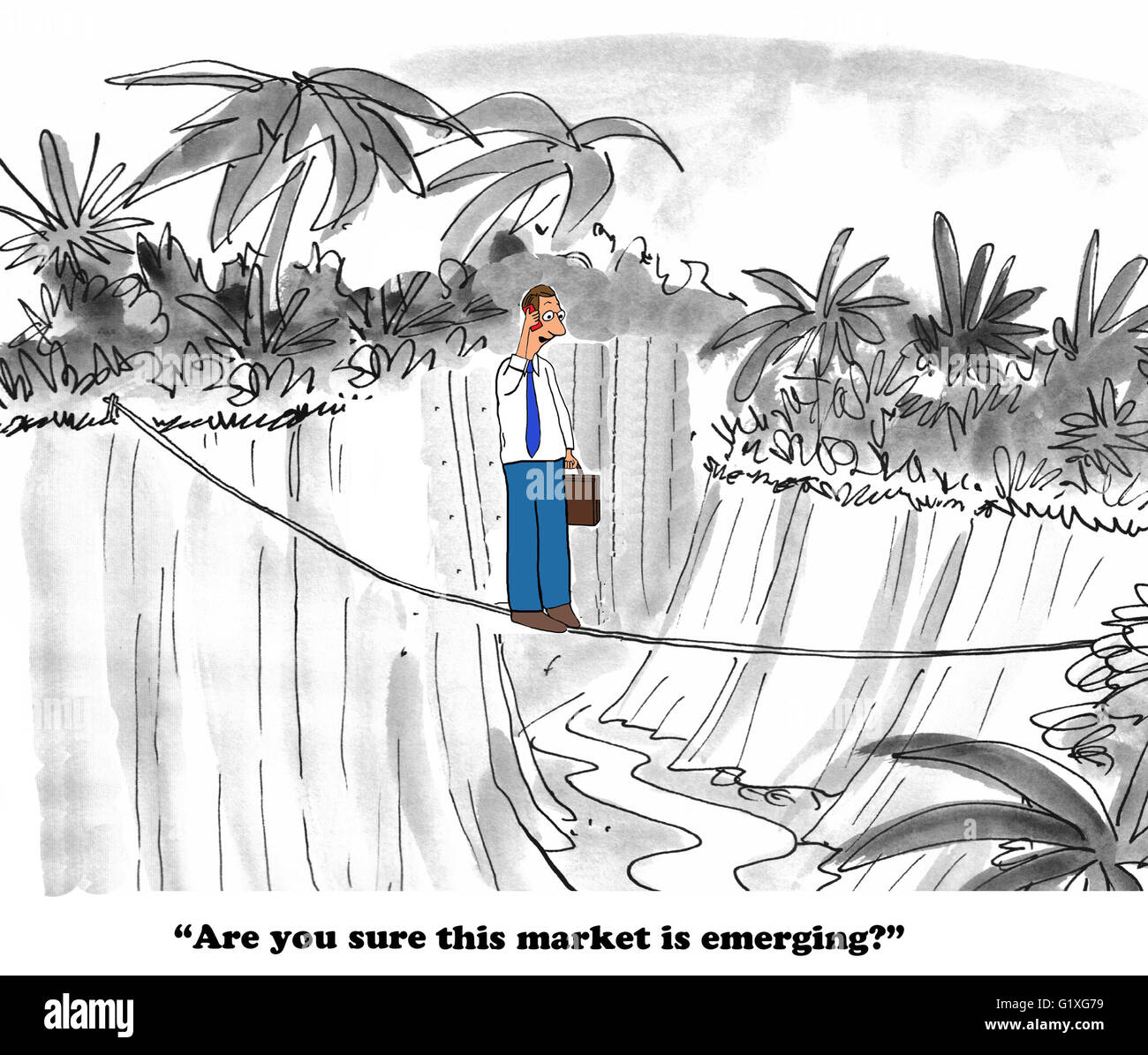 Business cartoon about a market that does not appear to be emerging. Stock Photo