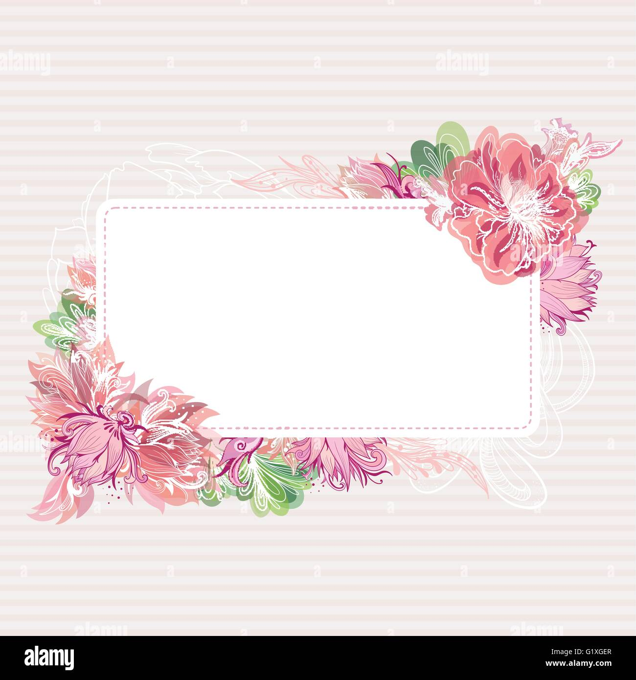 Beautiful Card Template With Shabby Chic Peony Lily And Lotus Flowers Watercolor Transparent Effect For Greeting