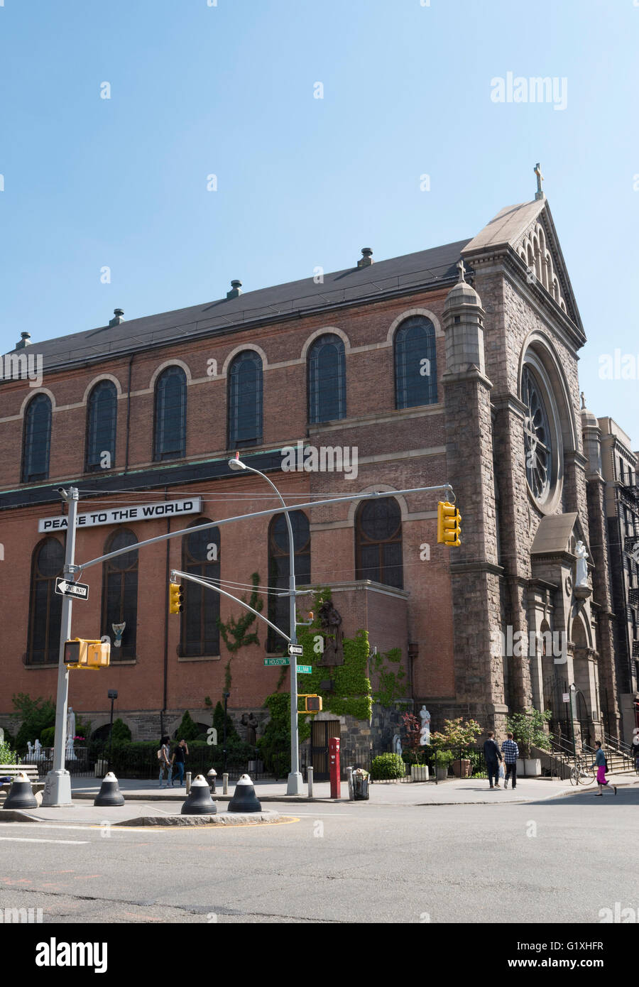 Exterior facade of the Shrine Church of St Anthony of Padua on West Houston Streest, New York. - Stock Image
