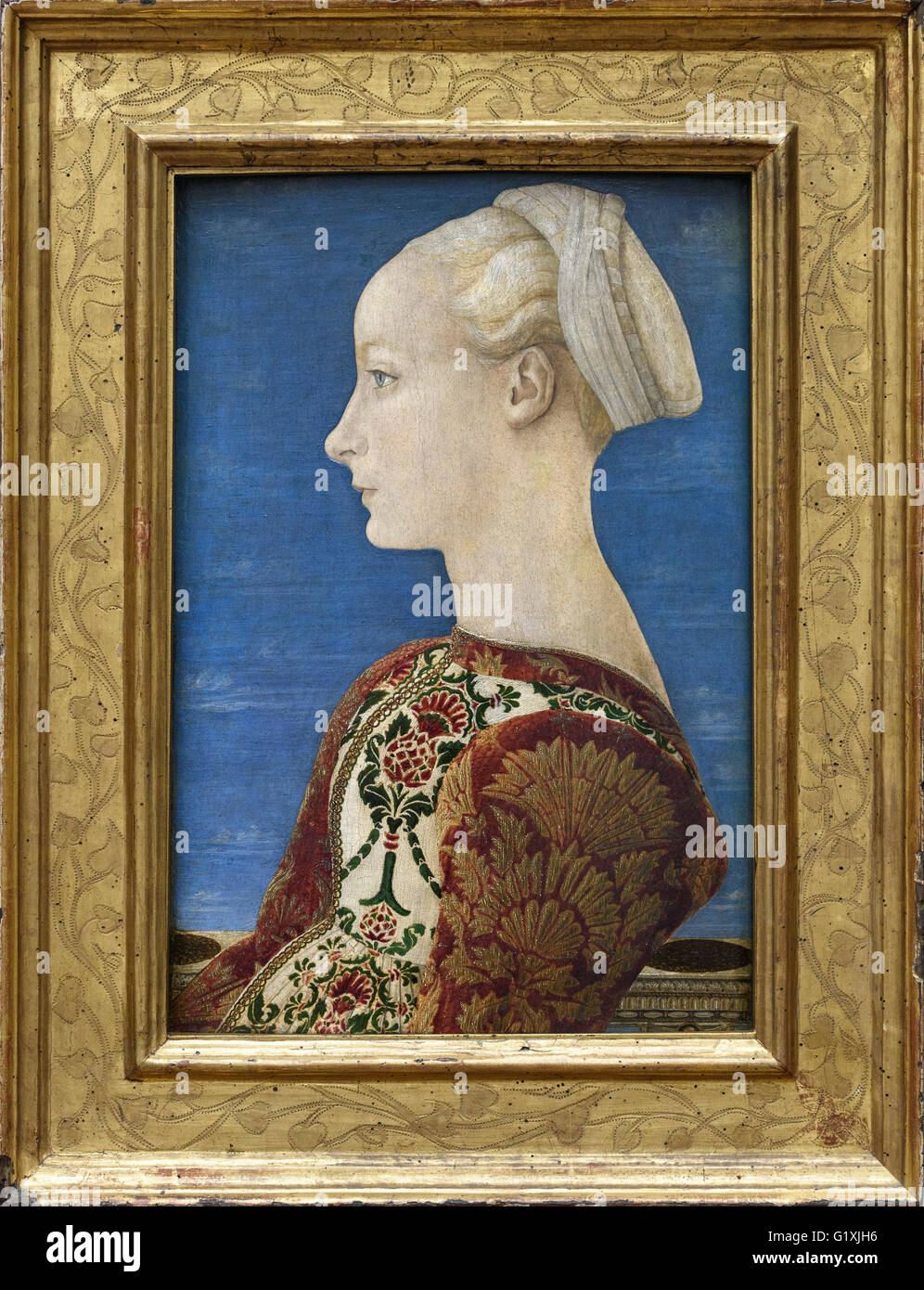 Berlin. Germany. Profile Portrait of a Young Woman (1465), by Antonio del Pollaiuolo (ca.1431/1498), Gemäldegalerie. - Stock Image
