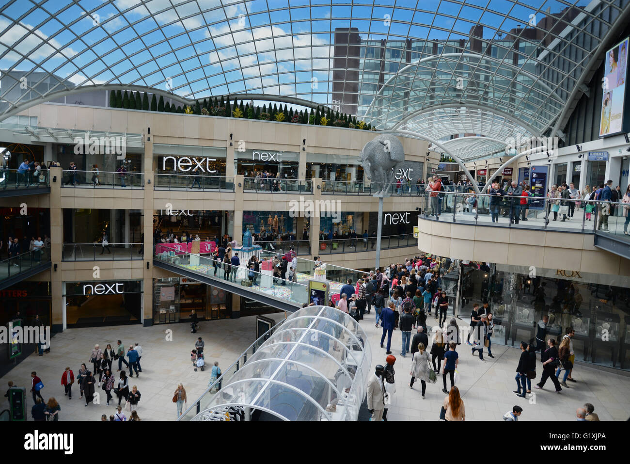 Trinity Leeds is the city's newest and biggest shopping and leisure destination with over 120 shops, cafes, bars, - Stock Image