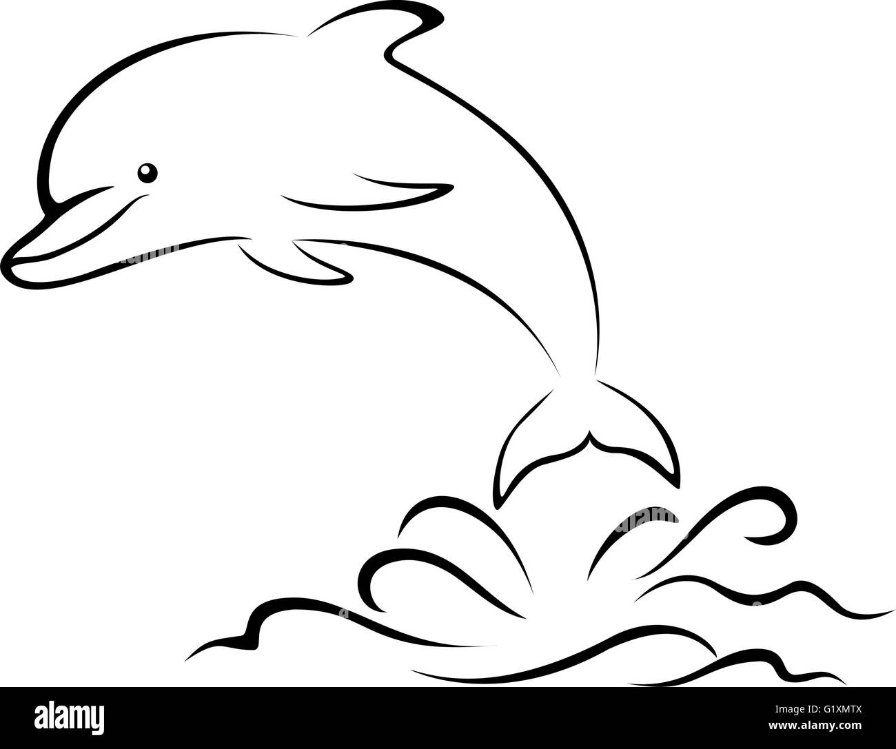 Dolphin and Sea Waves, Contour - Stock Image