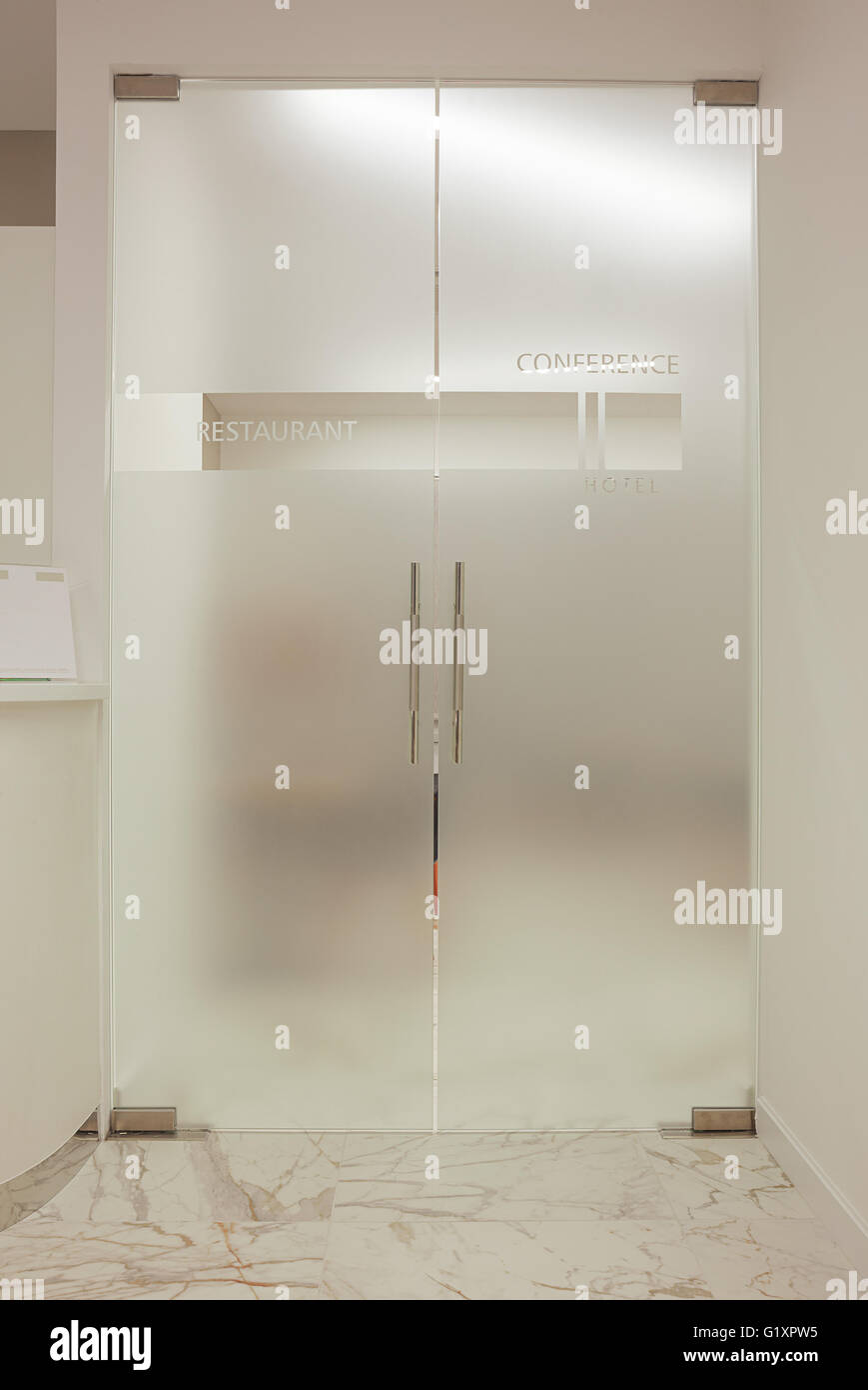 Modern Glass Doors Details, With Text Restaurant And Conference.   Stock  Image