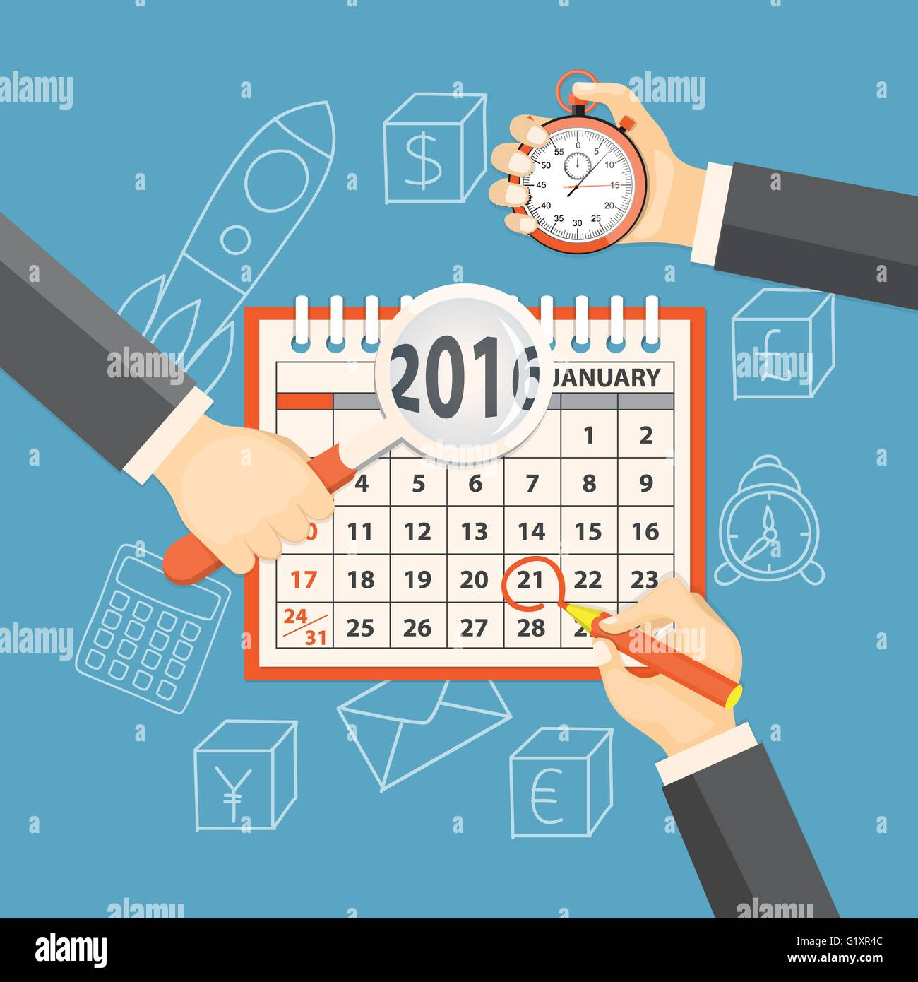 Flat  vector illustration. Hands with  stopwatch, magnifier, pencil  and calendar january 2016 on the background Stock Vector
