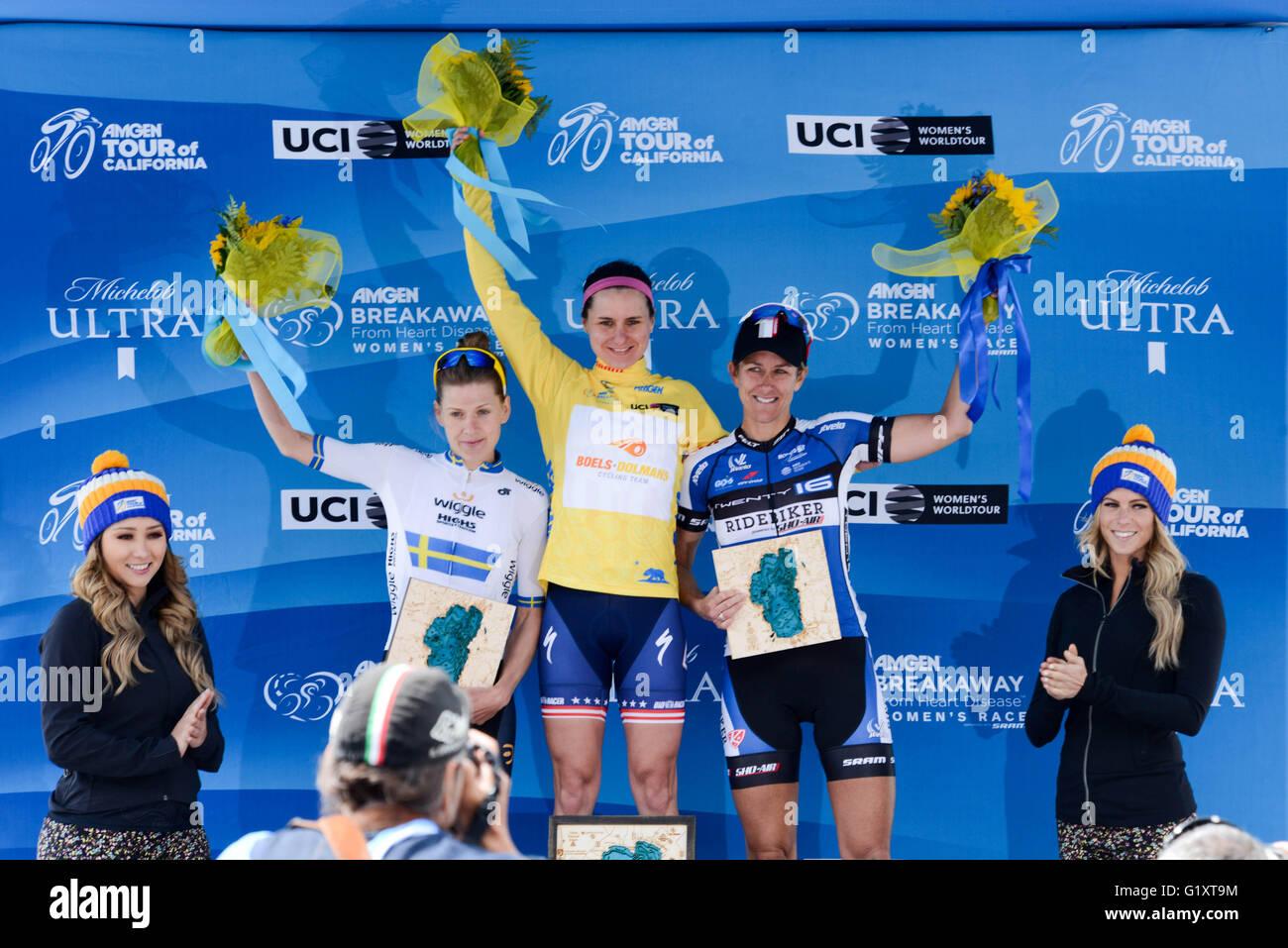 South Lake Tahoe, California, USA. 19th May, 2016. Megan Guarnier riding for Boels-Dolmans Pro Cycling takes the Stock Photo