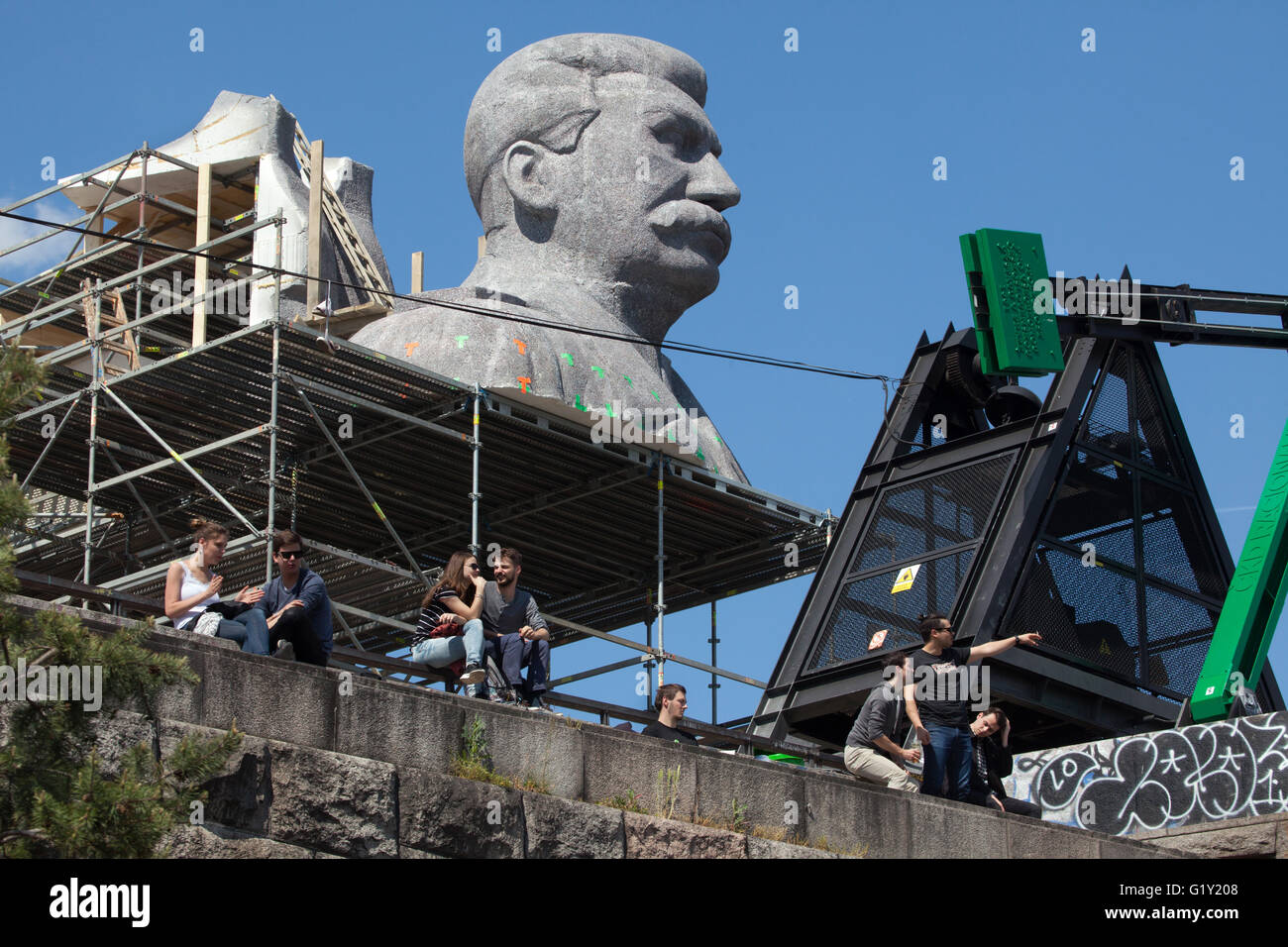 Huge head of Soviet dictator Joseph Stalin rising over Letna Park in Prague, Czech Republic, during the Czech Television - Stock Image