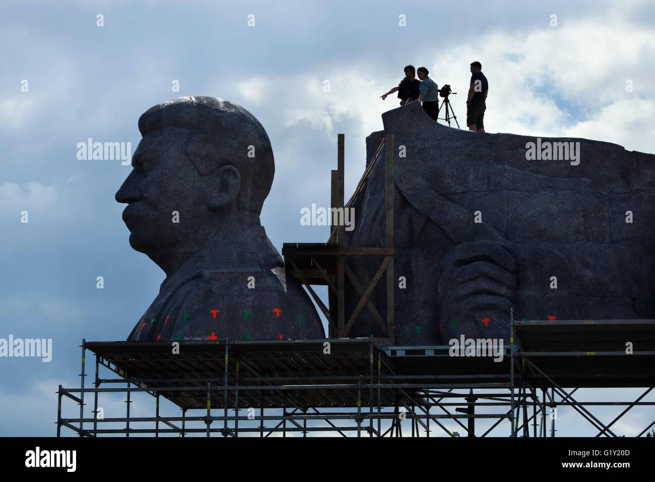 Prague, Czech Republic. 20th May 2016. Huge head of Soviet dictator Joseph Stalin rising over Letna Park in Prague, - Stock Image