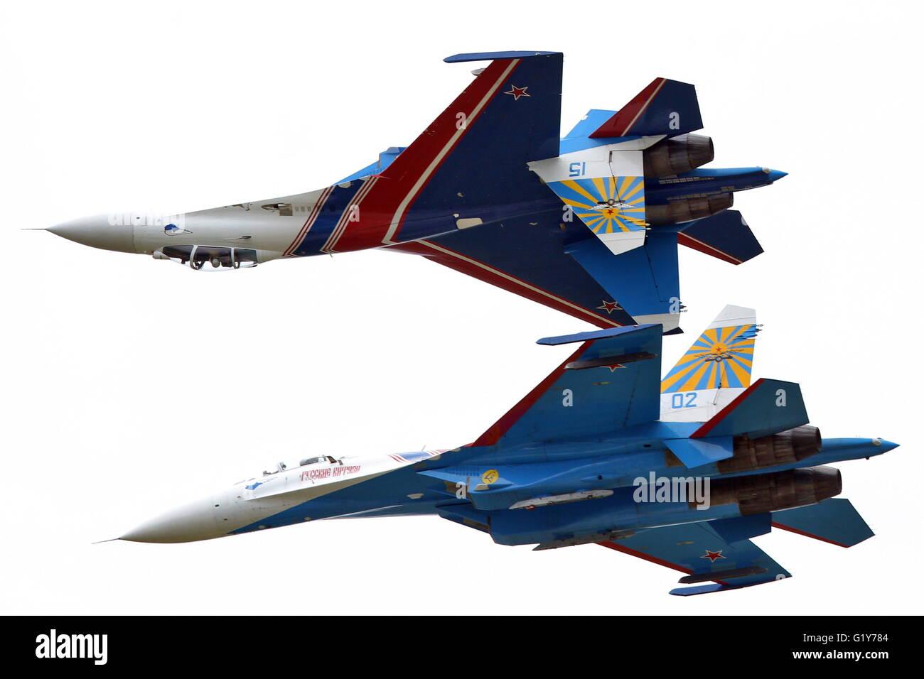 Moscow, Russia. 21st May, 2016. Sukhoi Su-27 fighter jets of the Russkiye Vityazi [Russian Knights] aerobatic team - Stock Image