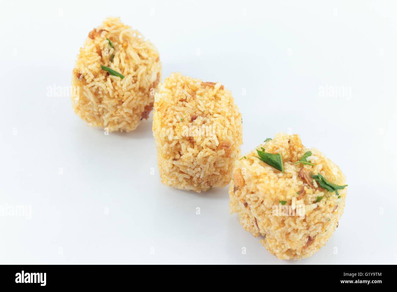 Fried rice noodle seasoning on white blackground Stock Photo