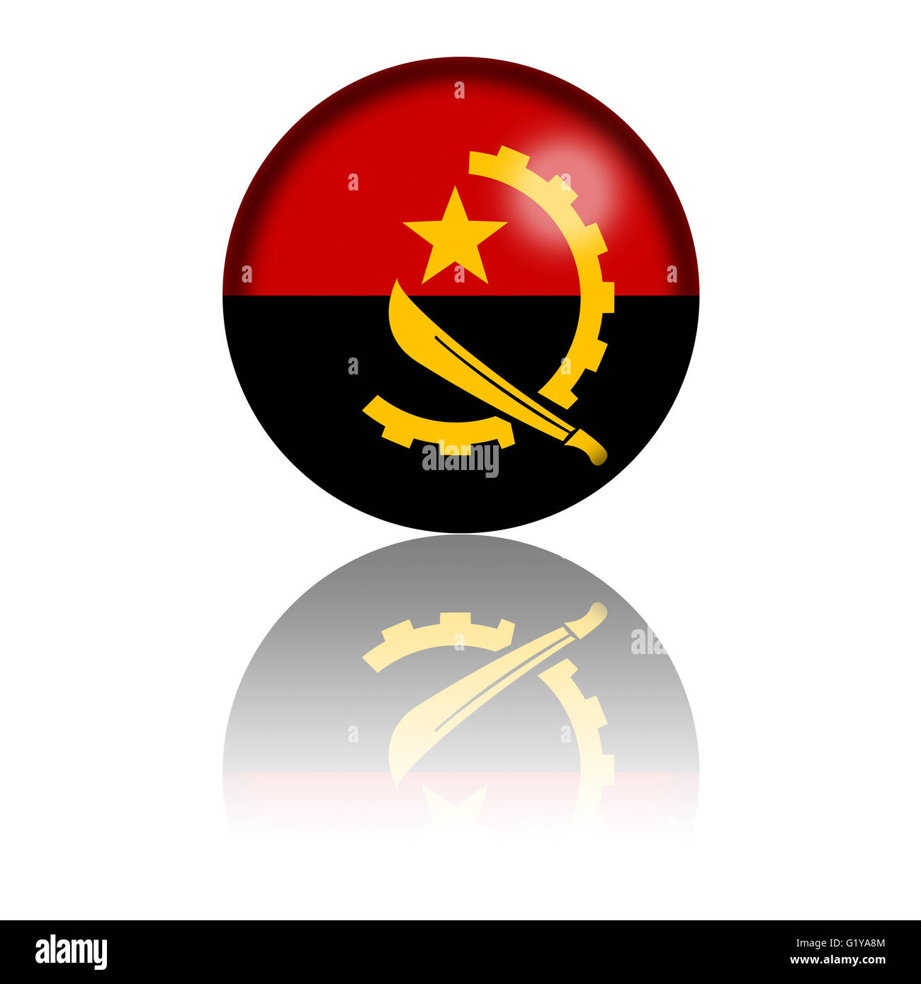3D sphere or badge of Republic of Angola flag with reflection at bottom. - Stock Image