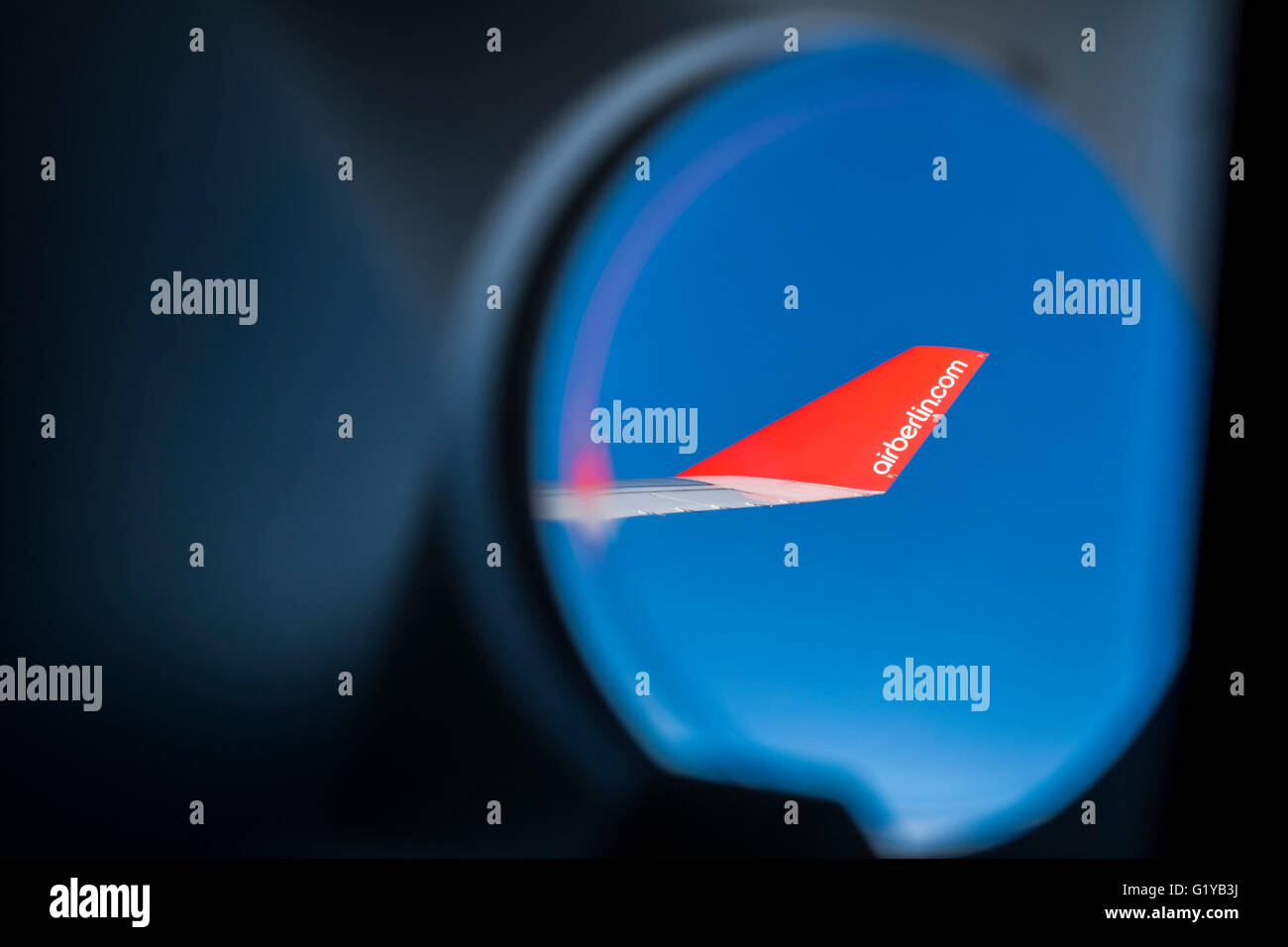 Air Berlin wing showing the airline name on winglet - No Sales on Alamy or anywhere else - Stock Image
