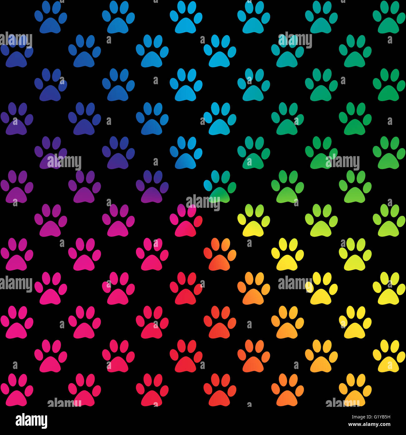 Paw prints in gradient rainbow colors, on black background - Stock Image