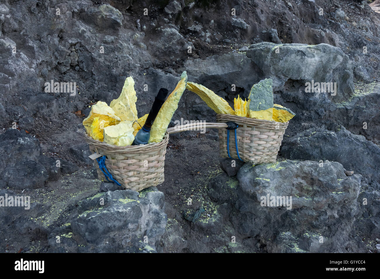 Sulfur Mining at Kawa Ijen Volcano, Java Indonesia. - Stock Image