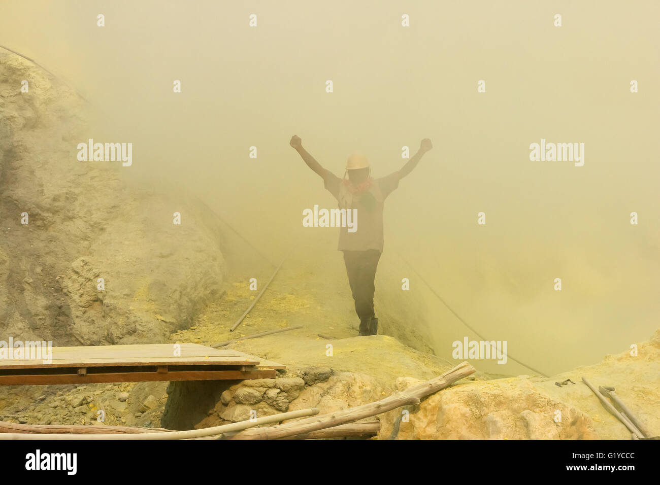 The Sulfur Mining in Ijen Crater, Indonesia. - Stock Image