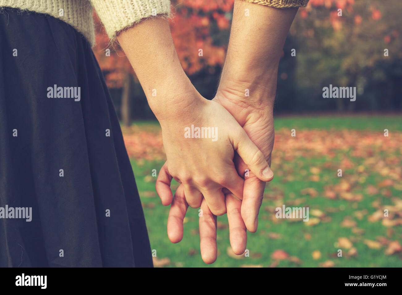 Close up on a couple holding hands in the park in autumn - Stock Image