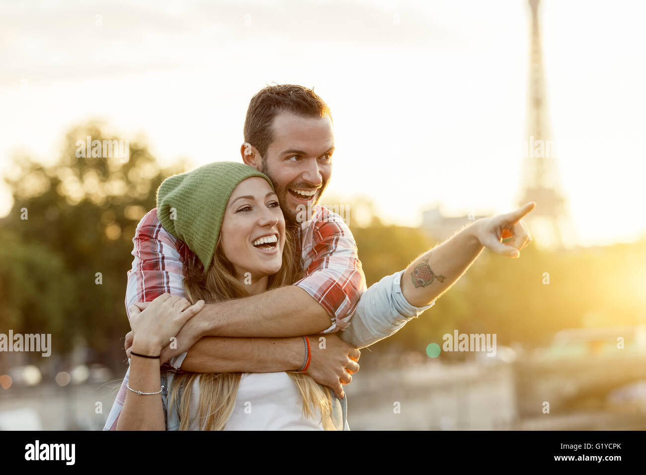 Young Couple visiting Paris - Stock Image