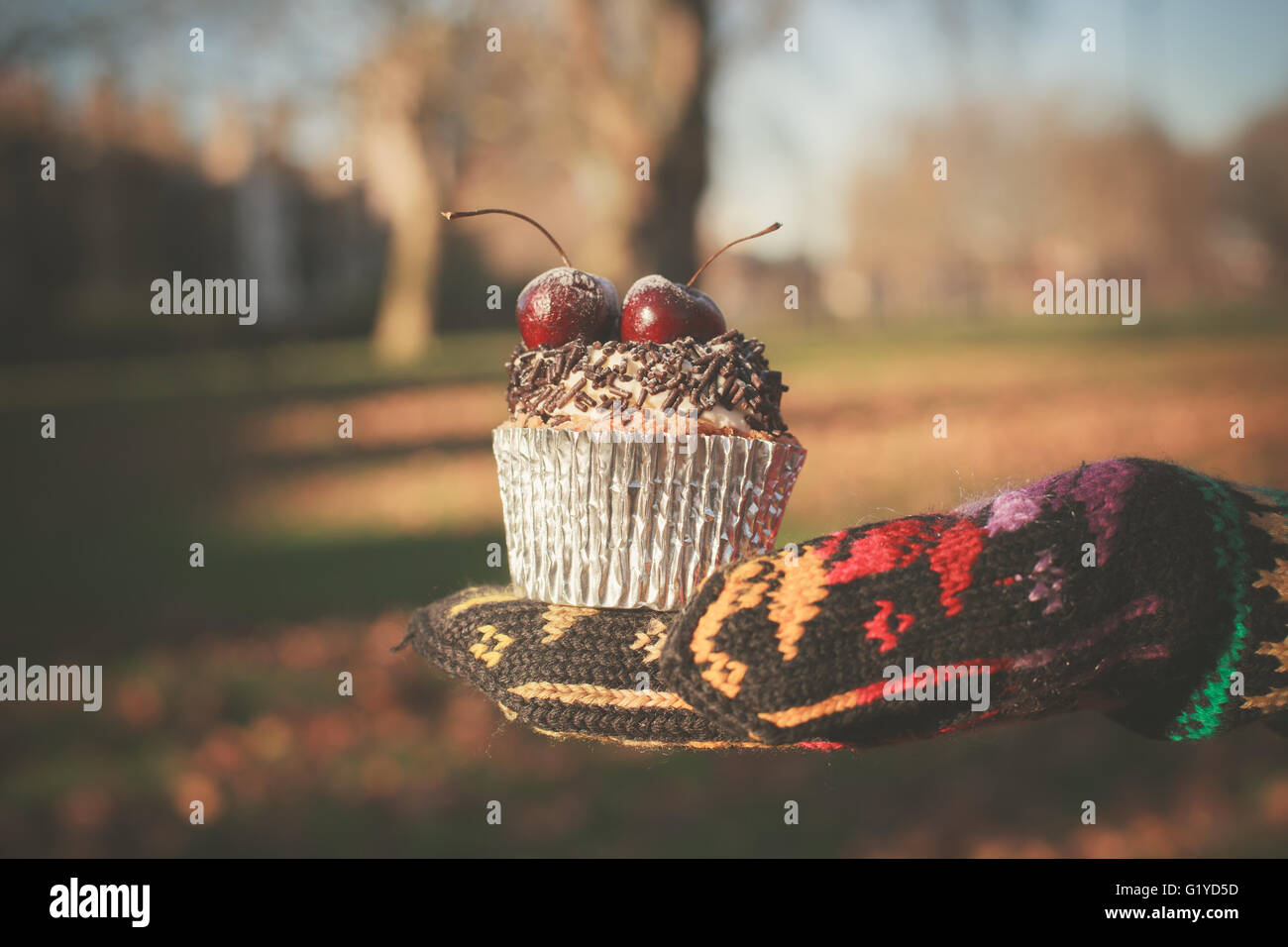 A gloved hand is holding a cupcake with a cherry on top - Stock Image