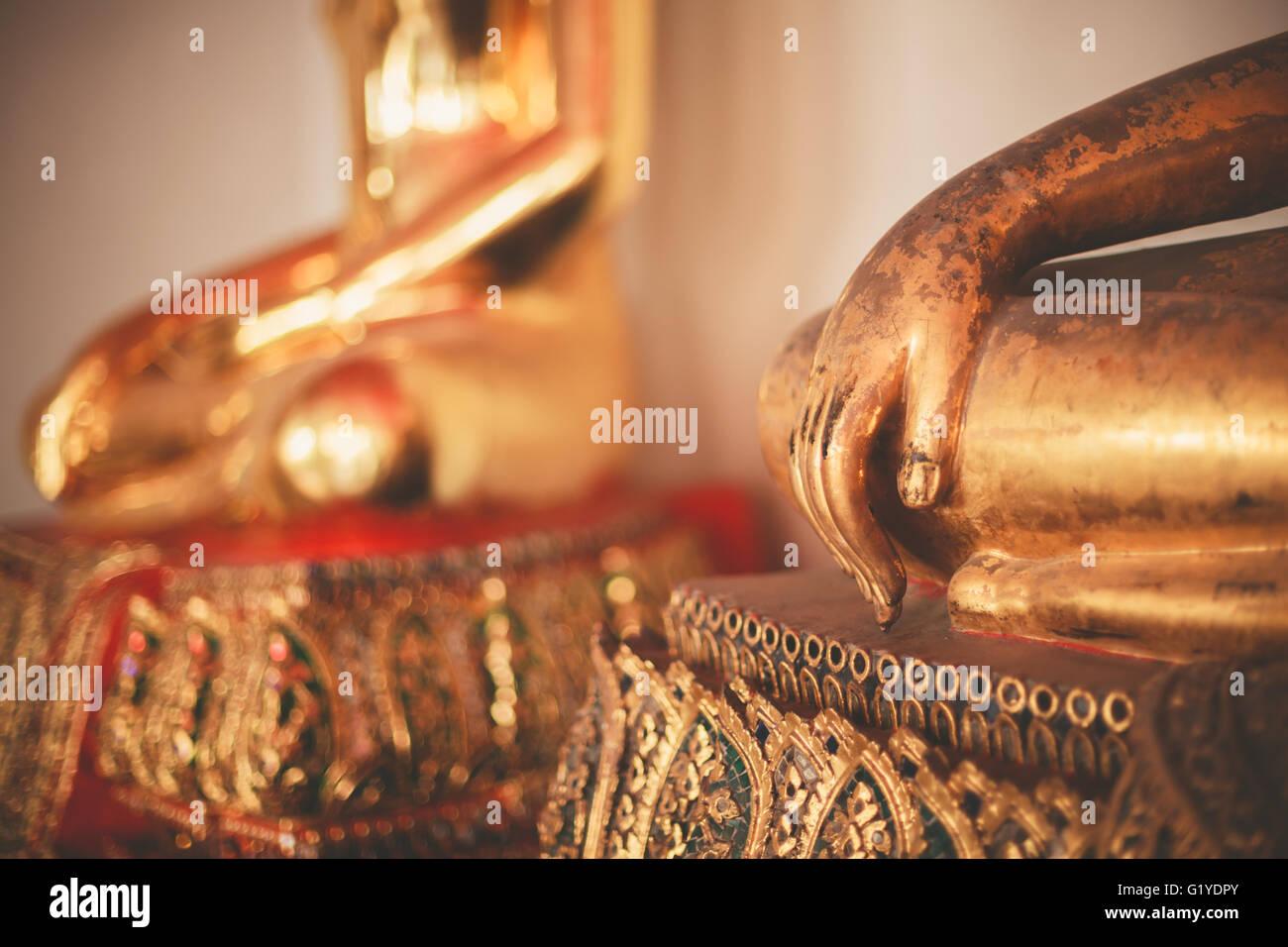 Buddha statues at Wat Pho Thailand - Stock Image