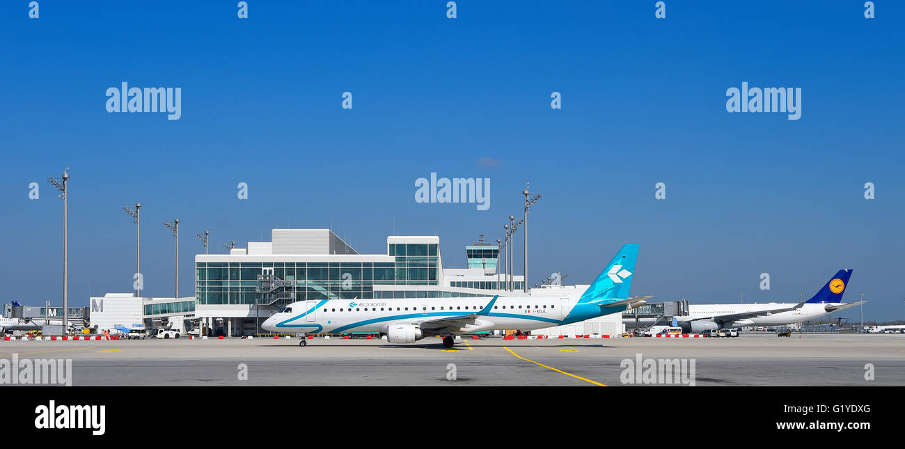 Air Dolomiti and Lufthansa Airbus, satellite, Terminal 2, Munich, Bavaria, Airport, Germany - Stock Image