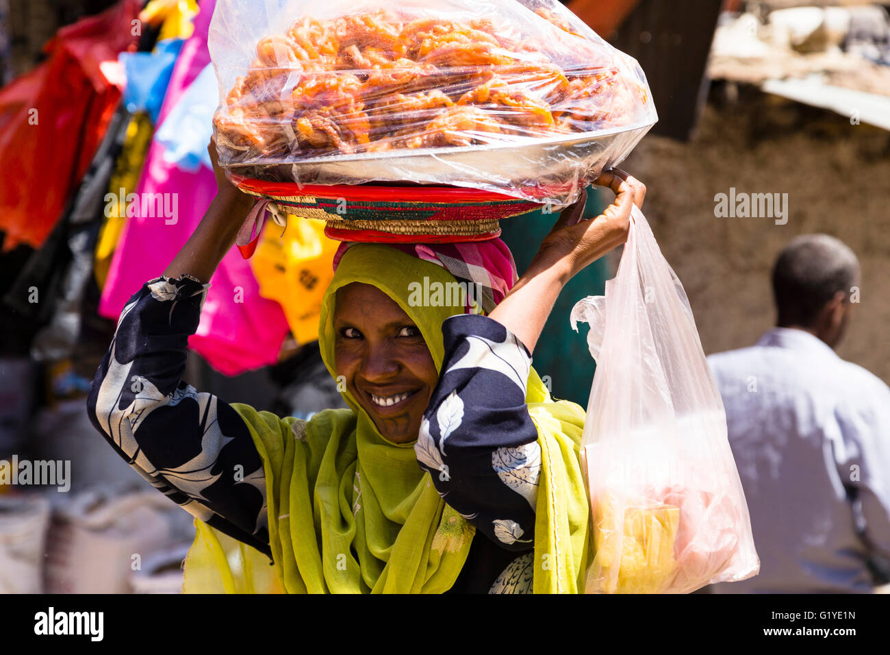 Woman at the Market in Harar, East Ethiopia - Stock Image