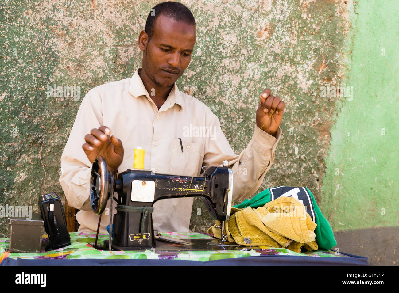 Tailor at the Market in Harar, East Ethiopia Stock Photo