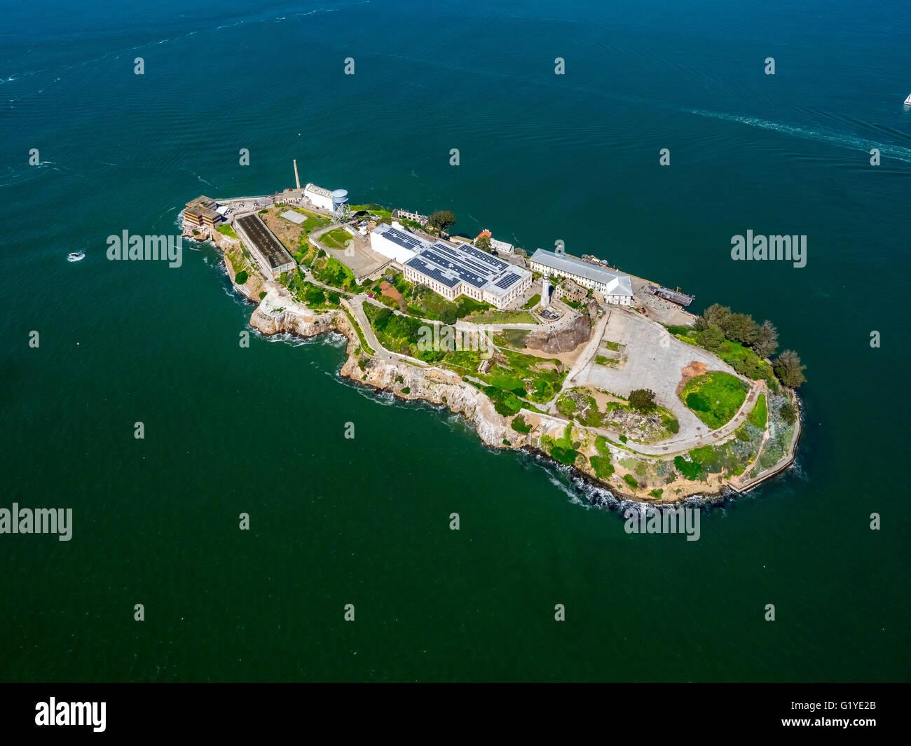 Prison Island Alcatraz, Alcatraz Island, Aerial view, San Francisco, San Francisco Bay Area, California, USA - Stock Image